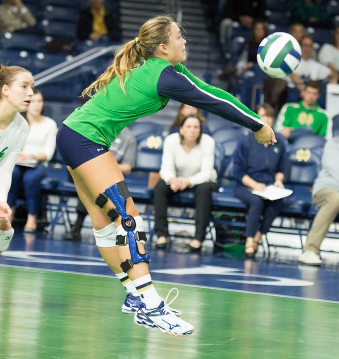 Freshman libero Natalie Johnson bumps the ball in Notre Dame's 3-1 win against Northeastern on Saturday at Purcell Pavilion.
