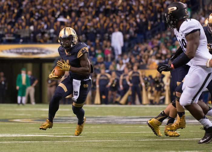 Sophomore running back Greg Bryant carries the ball in the 30-14 win against Purdue at Lucas Oil Stadium on Saturday that gave Notre Dame a 3-0 record.
