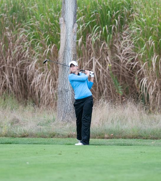 Belles senior Janice Heffernan hits a shot at the O'Brien National Invitational on Sept. 15, 2013, at Warren Golf Course.