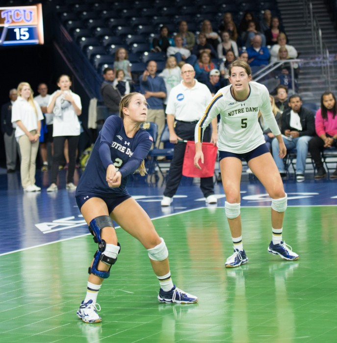 Freshman libero Natalie Johnson prepares for a hit against TCU on Friday, Sept. 12. The Irish lost to the Horned Frogs, 3-1.