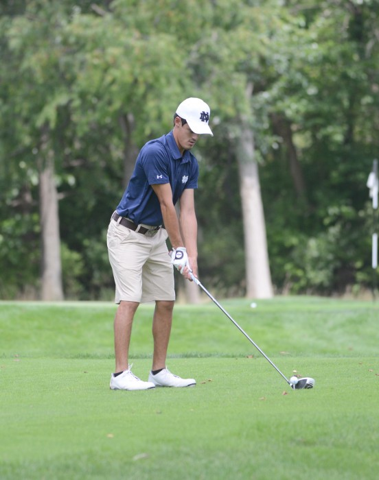 Irish sophomore Matthew Rushton prepares to tee off during the Notre Dame Kickoff Challenge at Warren Golf Course on Aug. 31.