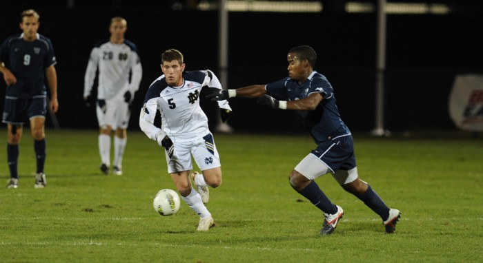 Notre Dame graduate and 2013 MLS Rookie of the Year Dillon Powers moves upfield against Villanova on  Nov. 11, 2011 at Alumni Stadium.