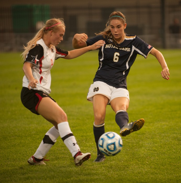 Irish junior forward Anna Maria Gilbertson evades a defender during Notre Dame's 2-1 loss to Texas Tech on Aug. 29.