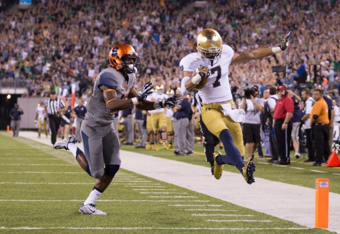 Irish sophomore receiver Will Fuller scores the second of his two touchdowns during Notre Dame's 31-15 victory over Syracuse on Saturday night at MetLife Stadium in East Rutherford, New Jersey.