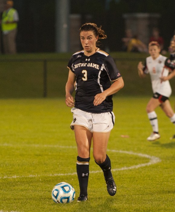 Irish sophomore midfielder Morgan Andrews looks to pass during Notre Dame's 2-1 loss to Texas Tech on Aug. 29 at Alumni Stadium.
