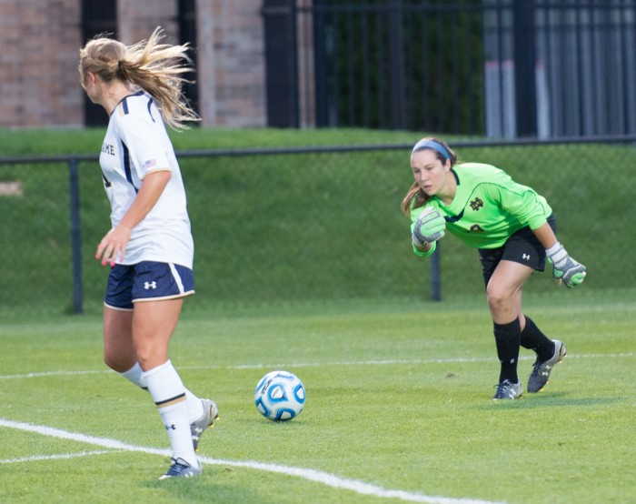 Sophomore goalkeeper Kaela Little rolls the ball out of the  penalty area during Notre Dame's 1-0 victory over Baylor on Sept. 12.