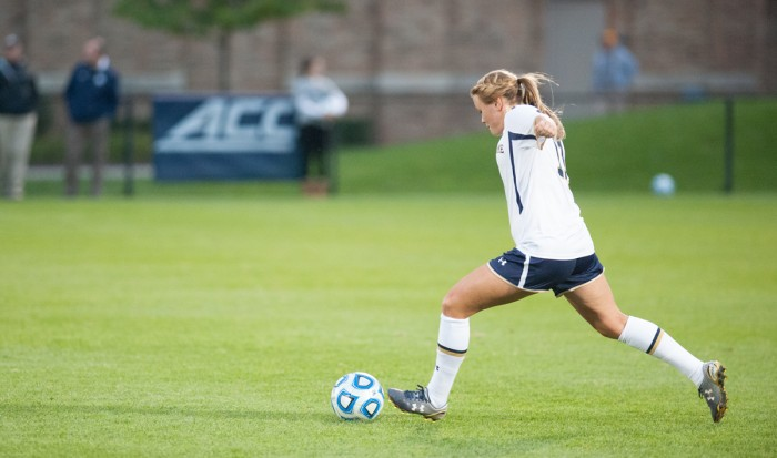 rish senior defender Sammy Scofield launches a kick in Notre Dame's 1-0 win against Baylor on Sept. 12 at Alumni Stadium. Scofield and the No. 14 Irish face No. 4 Virginia on Sunday at home.