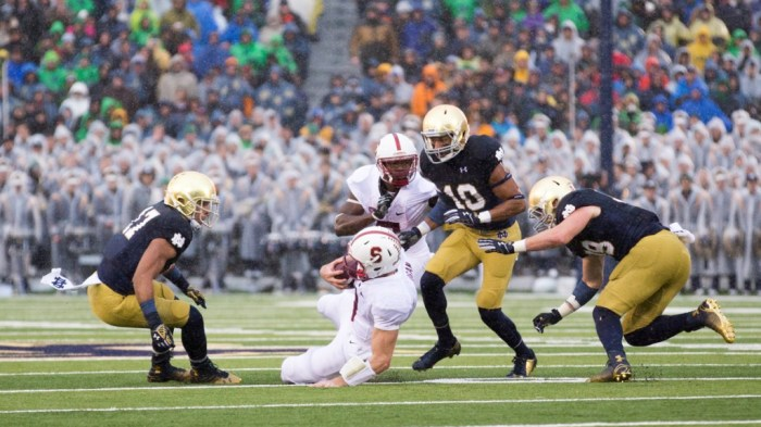 20141004, 2014-2015, 20141004, Football, Golson, Kevin Song, Notre Dame Stadium, Redfield, vs Stanford