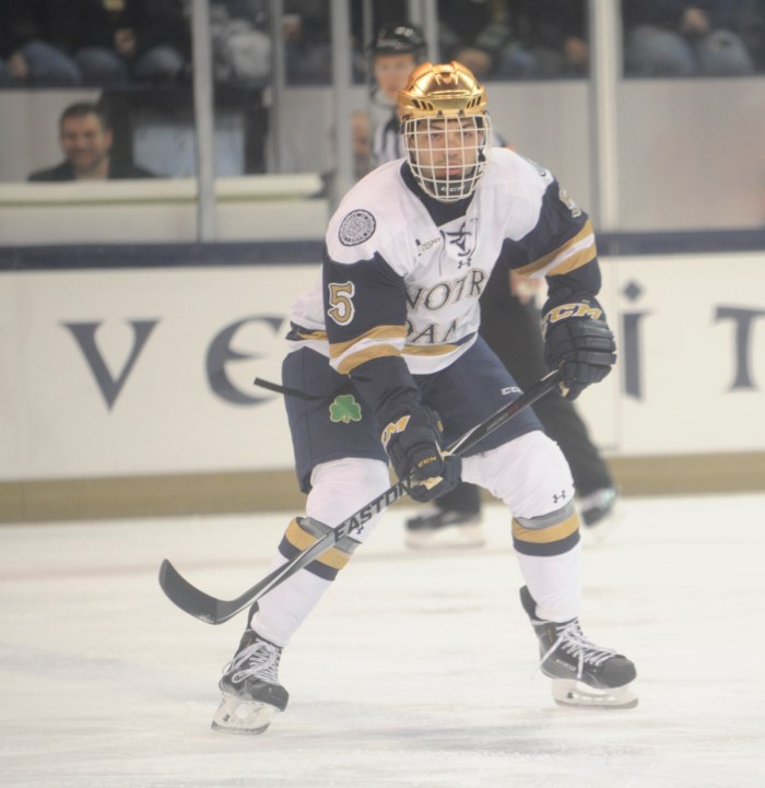 Irish senior defenseman Robbie Russo awaits a pass during Notre Dame's loss to Waterloo on Sunday at Compton Family Ice Arena.