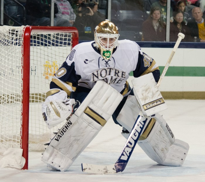 Irish freshman goaltender Cal Petersen watches game action during Notre Dame's 3-0 loss to Minnesota Duluth on Sunday.