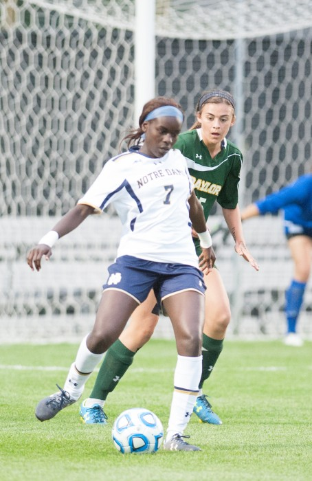 Irish freshman forward Karin Muya looks for a pass in a 1-0 win against Baylor on Sept. 12 at Alumni Stadium.
