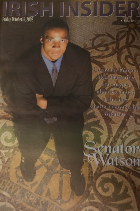 "Former Irish linebacker Courtney Watson, featured here in the Oct. 18, 2002, edition of ""Irish Insider,"" served as a senator for Zahm House."