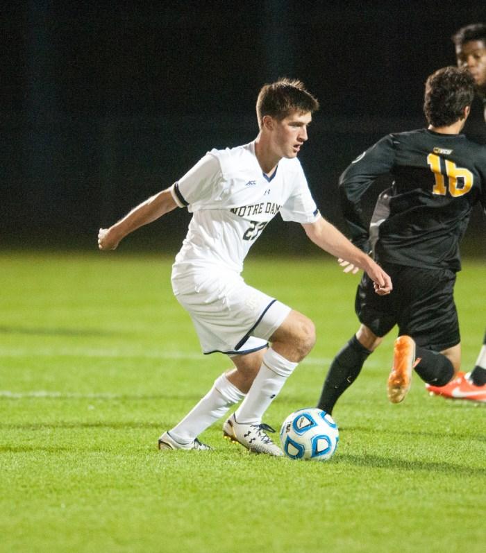 Irish junior midfielder Patrick Hodan scored one of ND's goals in their 2-1 NCAA quaterfinal victory over Michigan State last season.