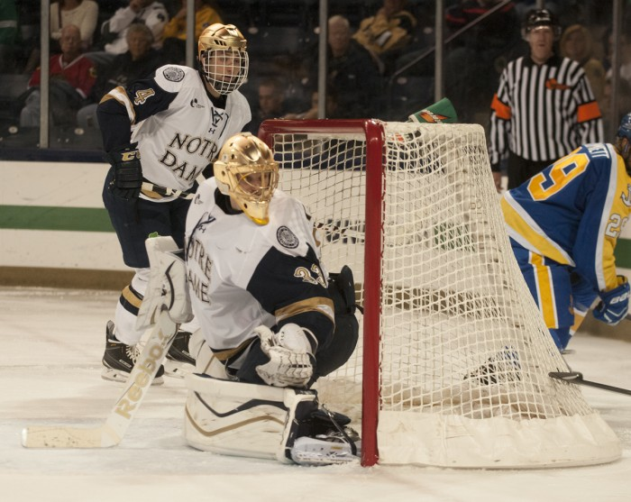 Irish sophomore goalkeeper Chad Katunar watches a shot fly by during Notre Dame's 5-3 win over Lake Superior State on Oct. 17.