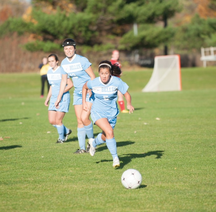 Belles freshman midfielder Baylee Adams pursues the ball during Saint Mary's 2-0 loss to Olivet on Tuesday.
