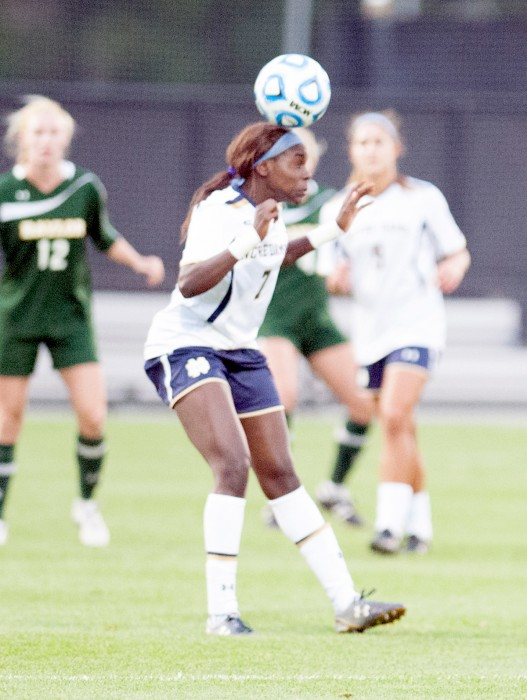 Irish freshman forward Karin Muya connects on a header during Notre Dame's 1-0 win over Baylor on Sept. 12.