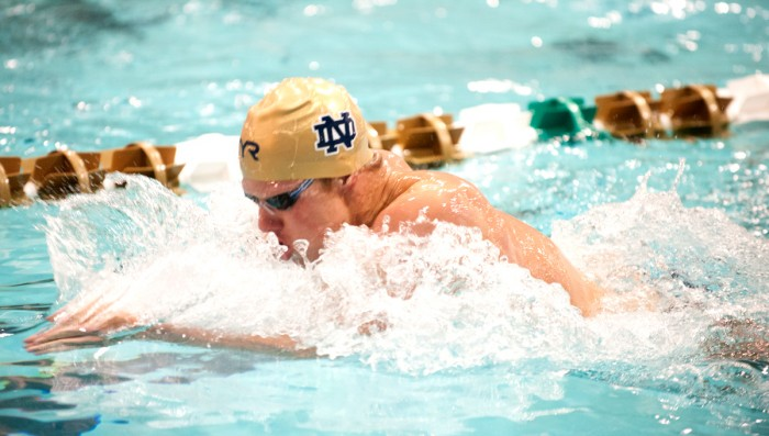 Irish senior Cameron Miller swims a breaststroke event at the Shamrock Invitational on Jan. 31 at Rolfs Aquatic Center.