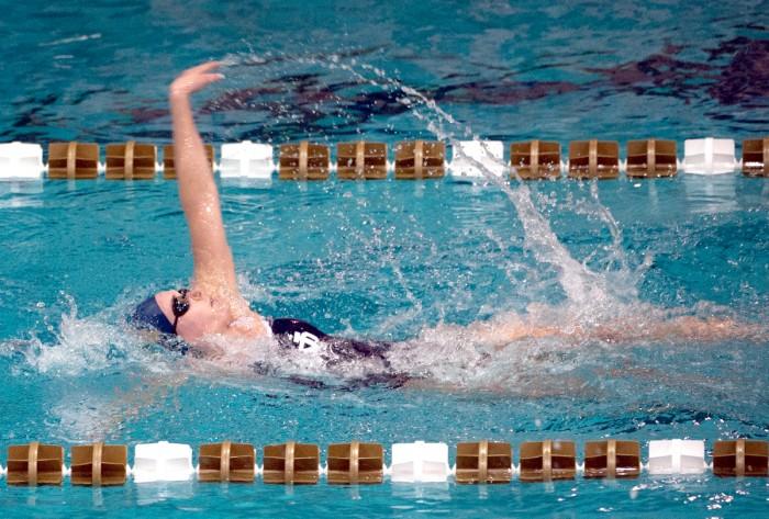 Irish junior Cat Galletti swims during Notre Dame's dual meet victory over Valporaiso on Nov. 11 at Rolfs Aquatic Center.