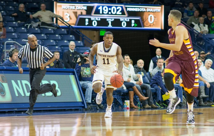 Irish sophomore guard Demetrius Jackson brings the ball up during Saturday's exhibition win over Minnesota Duluth at Purcell Pavilion.