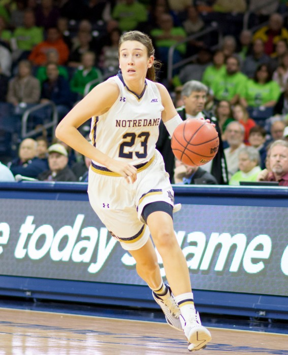 Irish junior guard Michaela Mabrey looks downcourt during Notre Dame's 92-32 victory over Ferris State on Wednesday night. Mabrey recored 12 points and one steal against the Bulldogs.