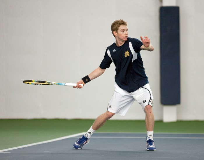 Irish sophomore Josh Hagar sets up to return a volley during Notre Dame's 4-3 win over Kentucky on Feb. 2 at Eck Tennis Center.