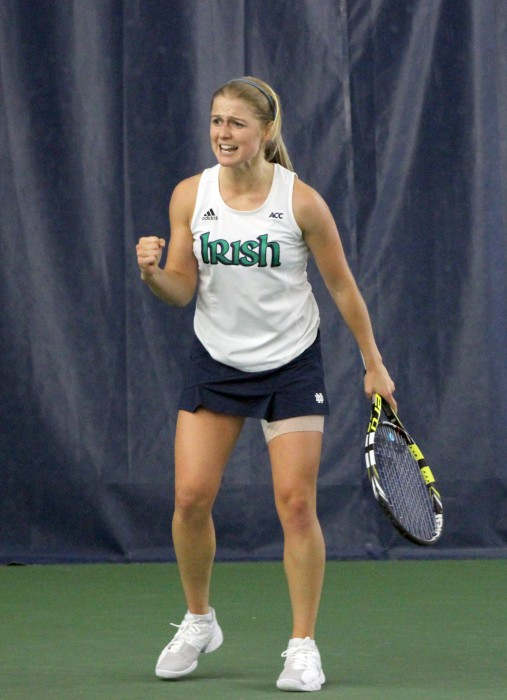 Irish sophomore Monica Robinson reacts after a shot during Notre Dame's 4-3 win over Indiana on Feb. 2 at Eck Tennis Center.