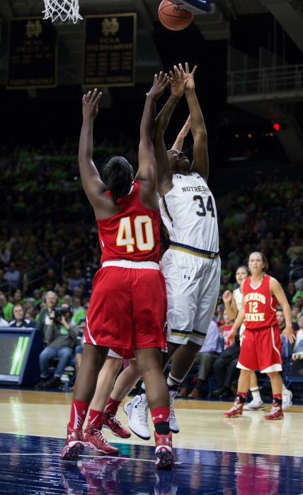 Irish senior forward Markisha Wright goes up for the rebound during Notre Dame's 92-32 exhibition win over Ferris State on Nov. 5.