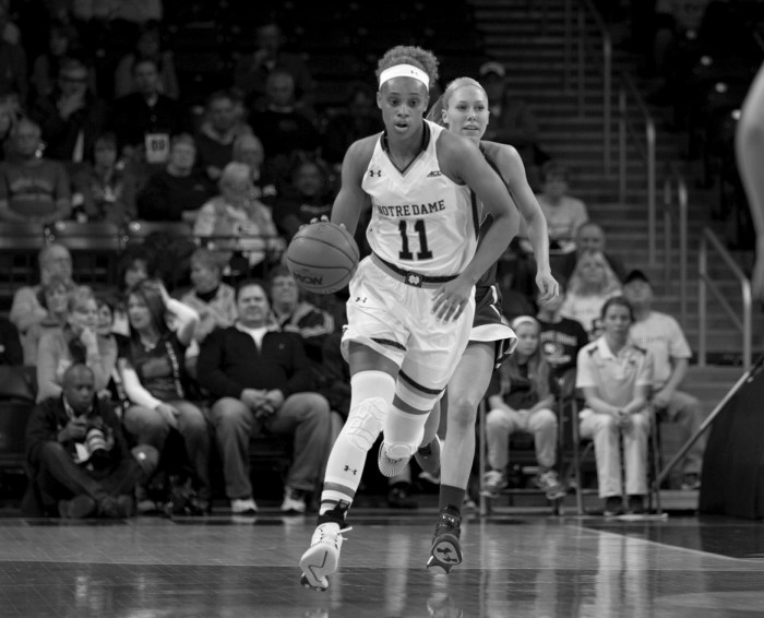 Notre Dame freshman forward Brianna Turner dribbles up the court during the 105-51 win over Massachusetts-Lowell on Nov. 14.