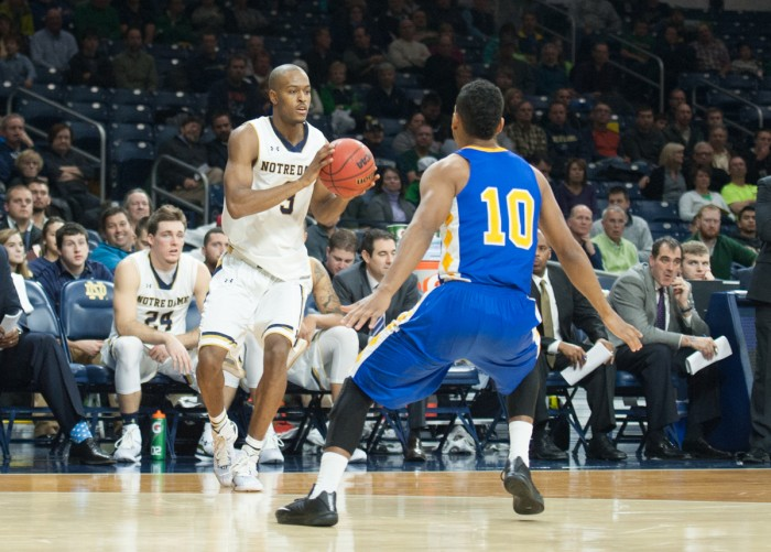 Notre Dame sophomore forward V.J. Beachem prepares to drive during Wednesday's win over Coppin State at Purcell Pavilion.