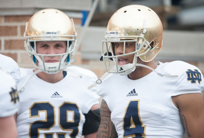 Irish senior safety Eilar Hardy, right, was cleared by the NCAA to participate in competition Nov. 7, and he debuted for Notre Dame the next day against Arizona State. Hardy tallied 26 tackles as a junior last season.
