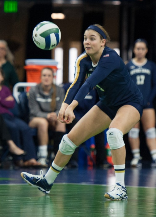 Freshman libero Jo Kremer digs a shot during Notre Dame's 3-2 win over Louisville on Nov. 9 at Purcell Pavilion. The Irish rallied from two sets down to beat the Cardinals.