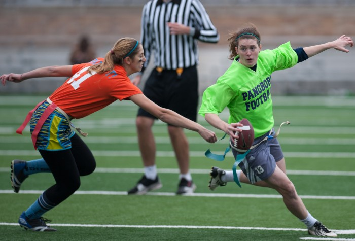 Pangborn senior quarterback Caitlin Gargan eludes a Welsh Family defender during the Phoxes' 18-7 win Sunday at Notre Dame Stadium.