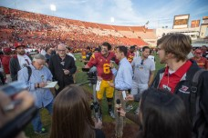 Trojans quarterback Cody Kessler speaks to the media after the game. Kevin Song | The Observer.