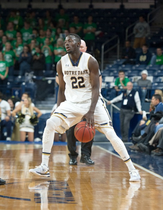 Irish senior guard Jerian Grant performs a crossover dribble during Notre Dame's 104-67 win over Coppin State on Nov. 19. Grant matched a career high with 26 points in Saturday's 90-42 win over Chicago State.