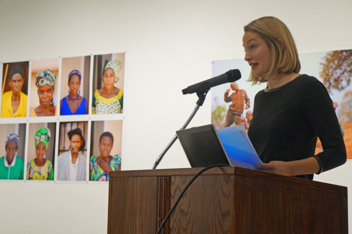 Saint Mary's alumna Malea Schulte '14 delivers presentation Monday evening on her experience in Rwanda working with both victims and perpetrators of the Rwandan genocide.