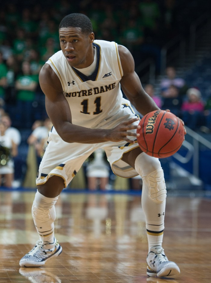 Irish sophomore guard Demetrius Jackson cuts towards the basket during Notre Dame's 93-67 win over Mount St. Mary's on Dec. 8.