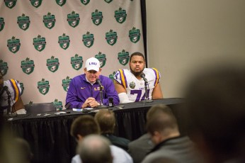 LSU coach Les Miles speaks to the press following their loss.