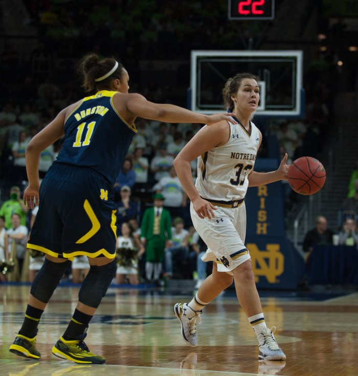 Irish freshman forward Kathryn Westbeld looks for an opening in Notre Dame's 70-50 victory against Michigan on Dec. 13.