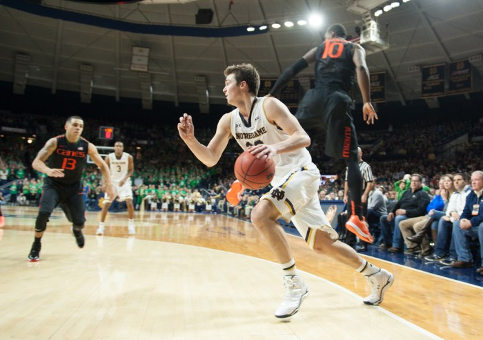 Irish sophomore guard Steve Vasturia drives toward the hoop Saturday in Notre Dame's 75-70 victory over Miami.