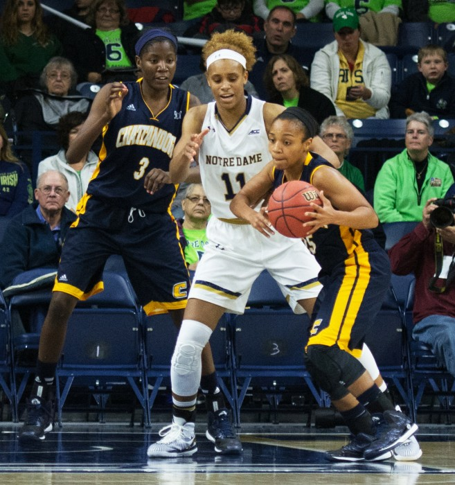 Irish freshman forward Brianna Turner plays defense during an 88-53 victory over Chattanooga on Nov. 21.