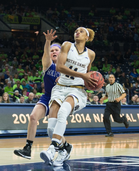 Notre Dame freshman forward Brianna Turner drives to the basket in a 104-29 defeat of Holy Cross on Nov. 23.