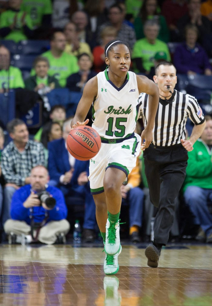 Irish sophomore guard Lindsay Allen brings the ball up the court during Notre Dame's 88-77 win over Tennessee on Monday at Purcell Pavilion.