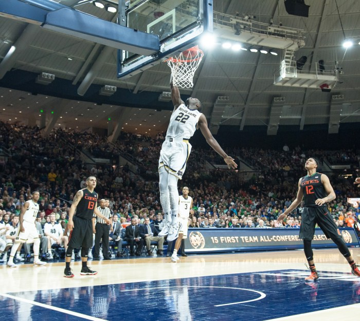 Irish senior guard Jerian Grant jumps for an uncontested dunk in a 75-70 win over Miami (Fla.) on Jan. 17 at Purcell Pavilion.