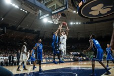 Junior forward Zach Auguste goes up for a shot. Michael Yu   The Observer