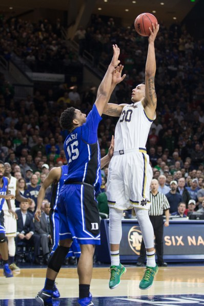 Junior forward Zach Auguste goes up for a shot. Jodi Lo   The Observer