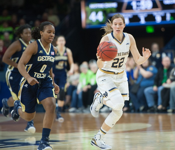 Irish freshman forward Kathryn Westbeld goes up for a jump shot during Notre Dame's 88-77 win over Tennessee on Jan. 19 at Purcell Pavilion. Westbeld  played for 23 minutes against the Volunteers.