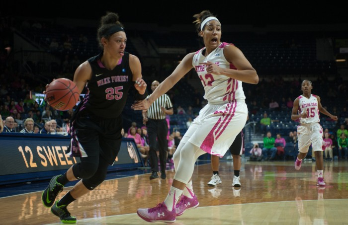 Irish sophomore forward Taya Reimer calls out for help on defense during Notre Dame's 92-63 win over Wake Forest on Sunday at Purcell Pavilion. Reimer had five boards in the contest.