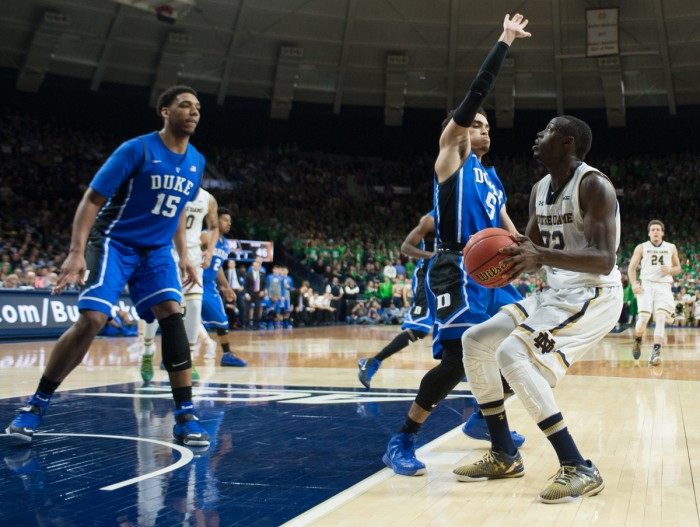 Irish senior guard Jerian Grant looks to shoot during Notre Dame's 77-73 win over Duke on Jan. 28 at Purcell Pavilion. The Irish lost 90-60 in the return game in Durham, North Carolina, on Saturday.
