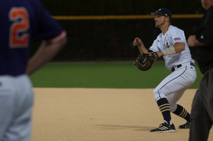 Irish senior first baseman Phil Mosey sets up for at first base awaiting a throw on May 9 during a 2-1 win against Clemson at Frank Eck Stadium. This was the first home game at Frank Eck Stadium with new turf.