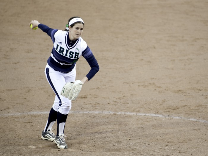 Irish sophomore pitcher Rachel Nasland winds up in Notre Dame's 11-4 victory over Michigan State on April 2 at Melissa Cook Stadium.